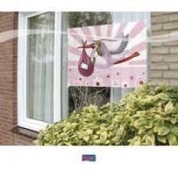 raamvlag ooievaar roze