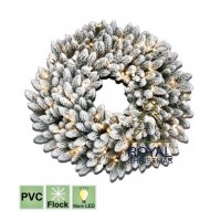 Kerstkrans Chicago 90 cm - met sneeuw - Warm White LED | Royal Christmas®